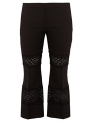 Alexander Mcqueen Lace Insert Wool Blend Cropped Trousers Black