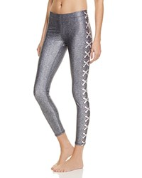 Terez Trompe L'oeil Lace Up Print Leggings Blue