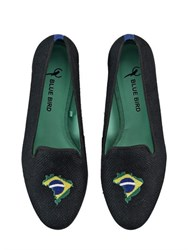 Blue Bird Brazilian Flag Embroidered Linen Loafers