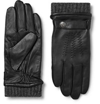 Dents Henley Leather And Wool Blend Tech Gloves Black