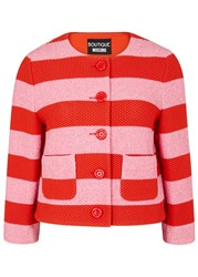 Boutique Moschino Striped Waffle Knit Cotton Jacket Pink