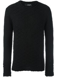 Tom Rebl Geometric Pattern Knit Sweater Black