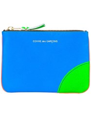 Comme Des Garcons Wallet Colour Block Zipper Purse Blue