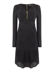 Biba 1930S Jacquard Bias Cut Dress Black