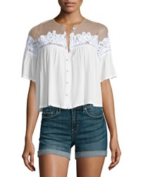 For Love And Lemons Carmine Button Front Crop Top White