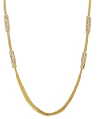 Abs By Allen Schwartz Gold Tone Multi Chain And Crystal Station Long Necklace