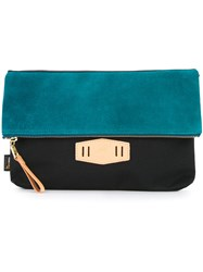 As2ov Contrast Flap Clutch Bag Nylon Black