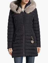 Betty Barclay Quilted Hooded Coat Deep Navy