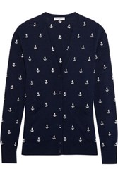 Equipment Sullivan Embroidered Knitted Cardigan Navy