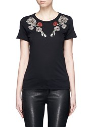 Alexander Mcqueen Poppy Crystal And Sequin Embellished T Shirt Black