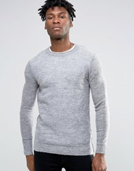 Selected Homme Knitted Mohair Crew Neck Light Grey