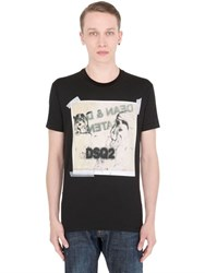 Dsquared Drawings Printed Cotton Jersey T Shirt