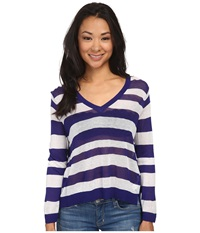 Kensie Sheer Sweater Ks4k5741 Imperial Purple Combo Women's Sweater Blue