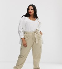 New Look Curves Utility Jogger In Stone Beige