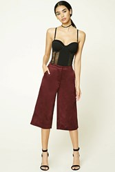 Forever 21 Faux Suede Culottes Burgundy