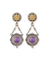 Silver And 18K Amethyst Dangle Earrings Konstantino Purple