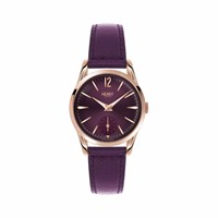 Henry London Ladies 30Mm Hampstead Leather Watch Rose Gold Pink Purple