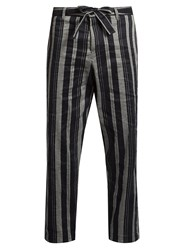 Tomorrowland Drawstring Straight Leg Trousers Navy Stripe