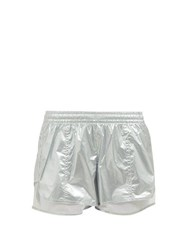 Adidas By Stella Mccartney Metallic Nylon Performance Shorts Silver