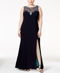 Betsy And Adam Plus Size Embellished Illusion Sweetheart Gown Navy