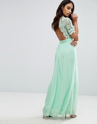 Club L Maxi Dress With Crochet Lace Detail And Cut Out Back Mint Sauce 118 Green