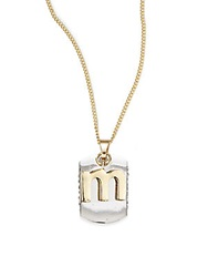 Bcbgeneration Two Tone Dog Tag Initial Pendant M Silver Gold
