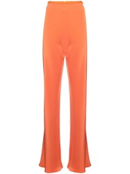 Peter Cohen Straight Silk Trousers Yellow And Orange