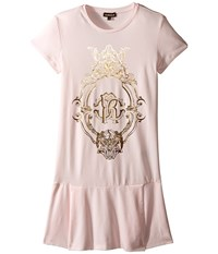 Roberto Cavalli Short Sleeve Drop Skirt T Shirt Dress Big Kids Light Pink Women's Dress