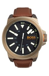 Men's Boss Orange 'New York' Texture Dial Leather Strap Watch 52Mm Brown Black