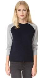 Current Elliott The Colorblock Sweater Light Grey Navy