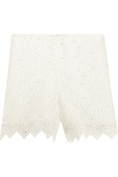Sandro Embroidered Crepe Shorts White
