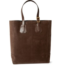 Tom Ford Leather Trimmed Suede Tote Brown