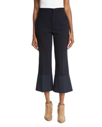 See By Chloe Cropped Flare Crepe Trousers Navy
