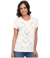 Lucky Brand Cut Out Mesh Top Lucky White Women's Clothing