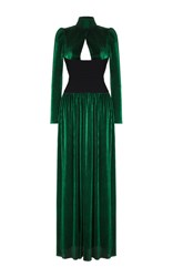 Rasario High Neck Long Sleeve Gown Green