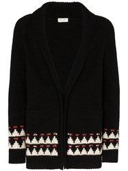 Saint Laurent Intarsia Knit Cardigan Black