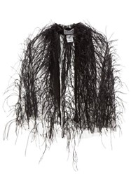 Osman Mareva Feather Trimmed Tulle Cape Black