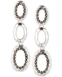 Judith Jack Sterling Silver Marcasite Accent Hammered Linear Earrings
