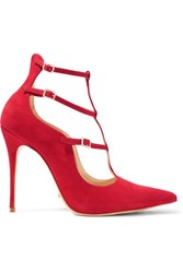 Schutz Welly Suede Pumps Red