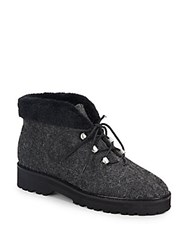 Bettye Muller Misty Faux Fur Trimmed Lace Up Boots Charcoal