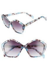 Draper James Women's 57Mm Gradient Lens Geometric Sunglasses Blue Tortoise