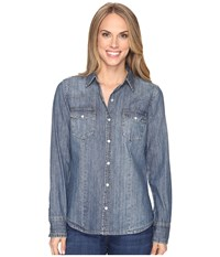 Stetson Denim Western Blouse Blue Women's Blouse