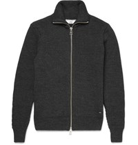 Ami Alexandre Mattiussi Ai Ribbed Wool Zip Up Sweater Charcoal