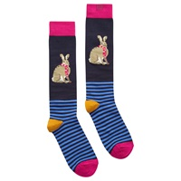Joules Brill Bamboo Rabbit Knee High Socks Pack Of 1 Navy