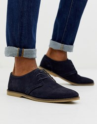 Pier One Lace Up Shoes In Navy Suede