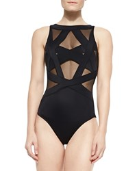Oye Swimwear Esther Strappy Mesh One Piece Swimsuit Black