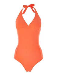 Dickins And Jones Waffle Texture Built Up Triangle Swimsuit Burnt Orange