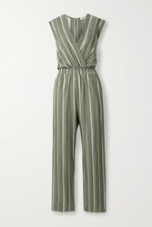 Maje Embroidered Striped Woven Jumpsuit Army Green
