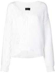 Rta Distressed V Neck Jumper White