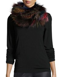 Jocelyn Fox Fur Infinity Scarf Dark Multicolor Dkmulti